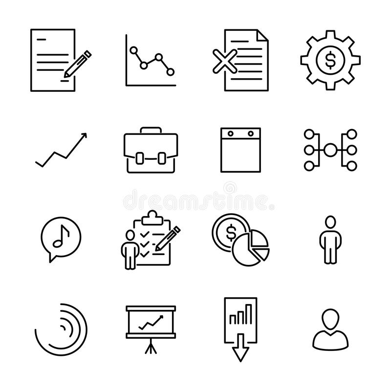 Prosta kolekcja zarządzanie odnosić sie kreskowe ikony ilustracji