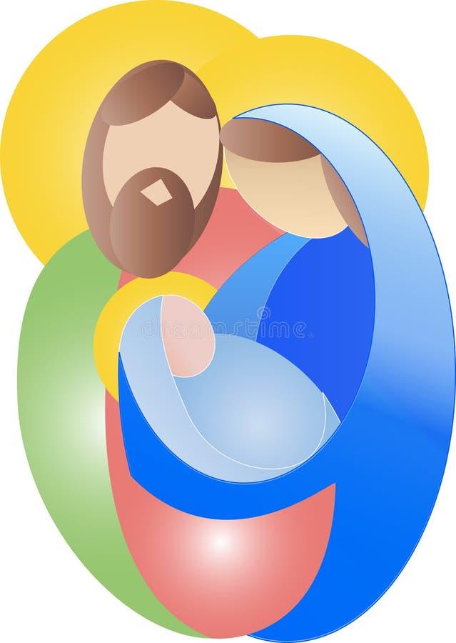 Prosta kolorowa Święta rodzina Mary Joseph i Jezus boże narodzenia vect ilustracji