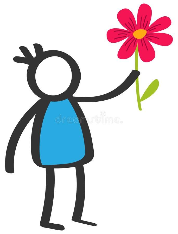 Prosta kolorowa kij postaci chłopiec daje kwiatu, miłość, Macierzysty ` s dzień, małe dziecko z błękitną koszula royalty ilustracja