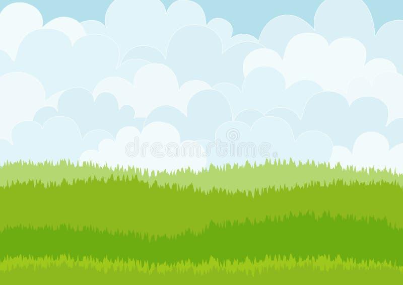 Prosta kreskówki łąka na nieba tle fotografia stock