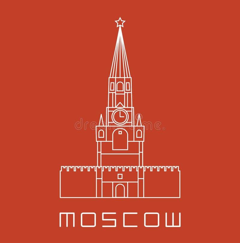 Prosta kreskowa Moskwa zegarowy wierza Kremlowska ikona royalty ilustracja