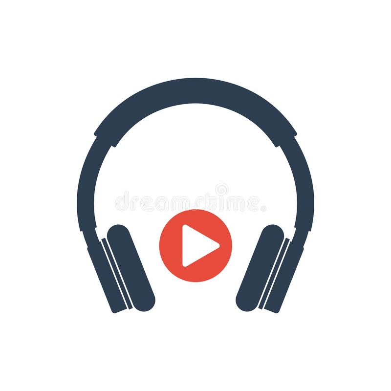Prosta linia telefon komórkowy Wektorowa ikona - hełmofon ikona, muzyczny sztuka guzik - ilustracja wektor