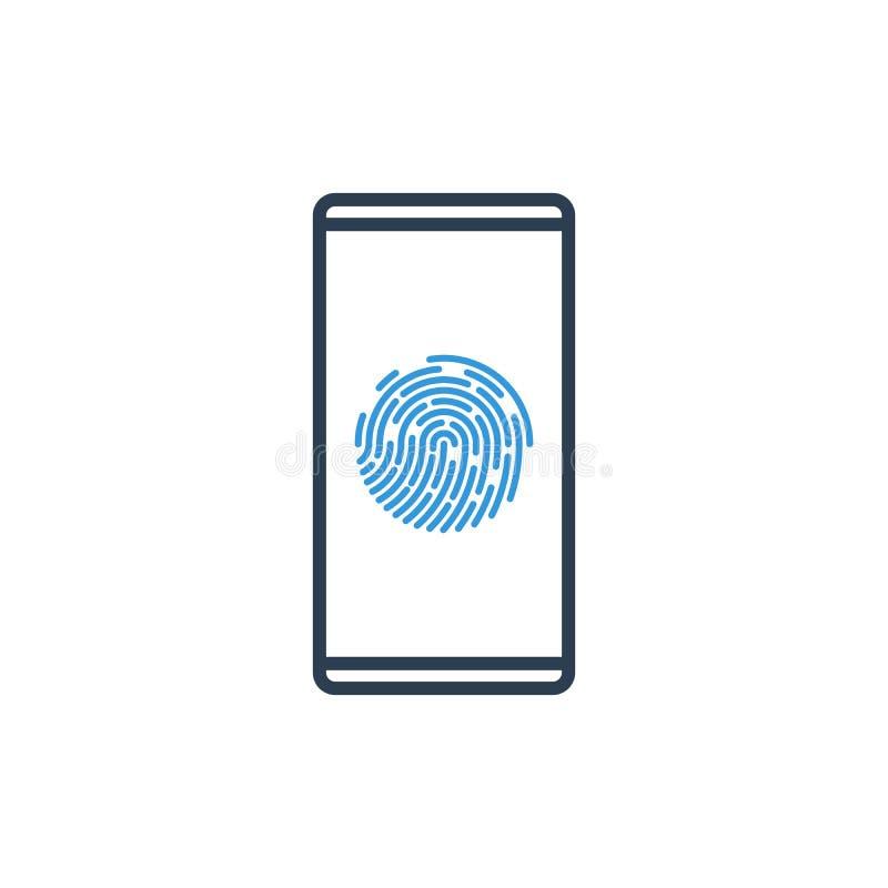 Prosta linia telefon komórkowy Wektorowa ikona - odcisk palca istoty ludzkiej id ilustracja wektor