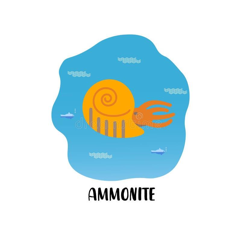 Prosta mieszkanie stylu ikona amonit Piktogram antyczni shellfish dla druku na koszulce ilustracja wektor