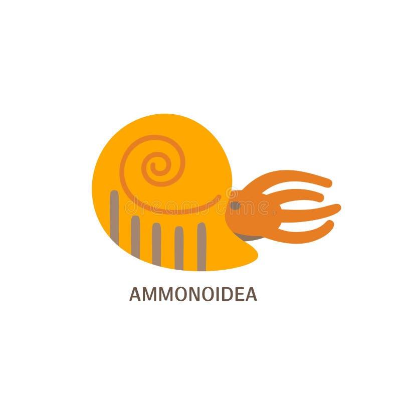 Prosta mieszkanie stylu ikona amonit Piktogram antyczni shellfish dla druku na koszulce lub projekt karcie royalty ilustracja