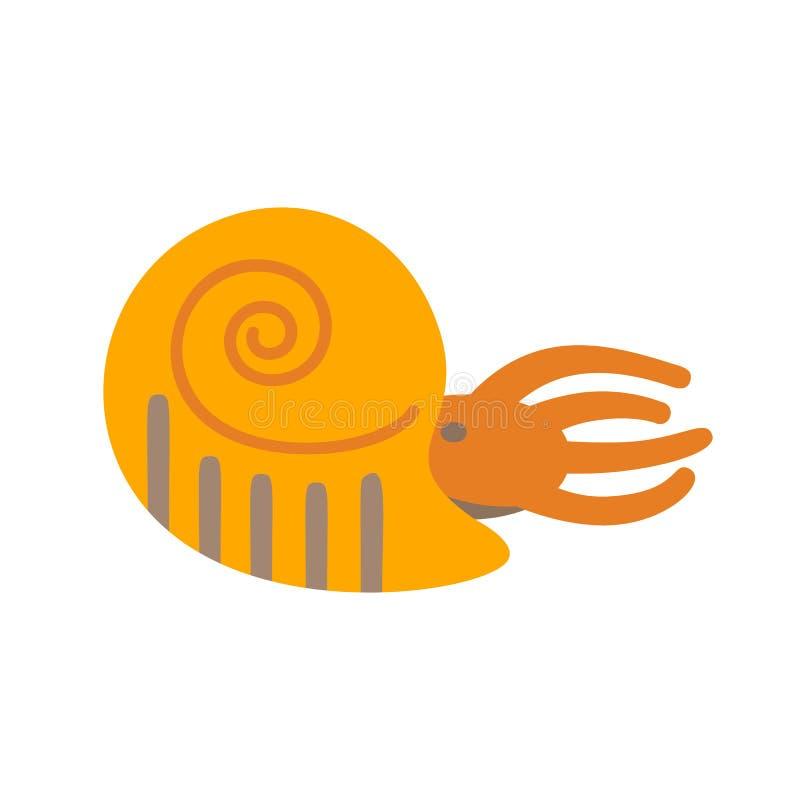 Prosta mieszkanie stylu ikona amonit Piktogram antyczni shellfish dla druku na koszulce ilustracji