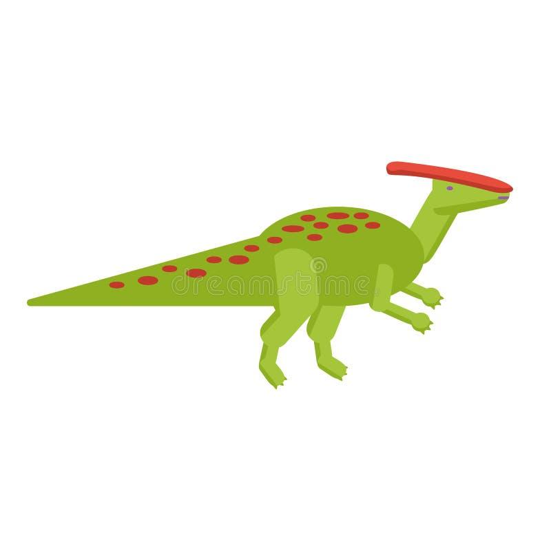 Prosta mieszkanie stylu ikona Parasaurolophus Piktogram dinosaur dla druku na koszulce lub projekt karcie ilustracja wektor