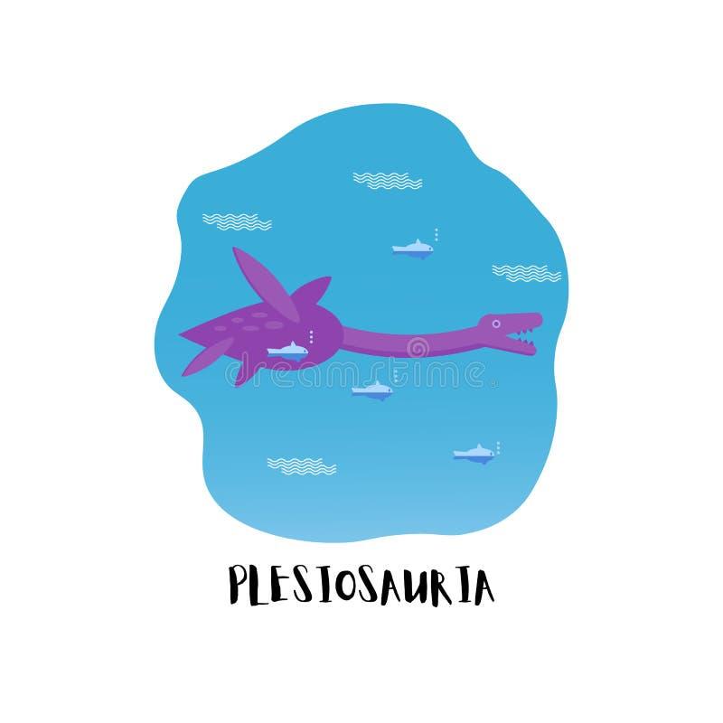 Prosta mieszkanie stylu ikona Plesiosauria Piktogram dinosaur dla druku na koszulce Loch nessie royalty ilustracja
