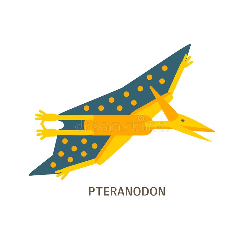 Prosta mieszkanie stylu ikona Pteranodon Piktogram pterozaur dla druku na koszulce lub projekt karcie royalty ilustracja