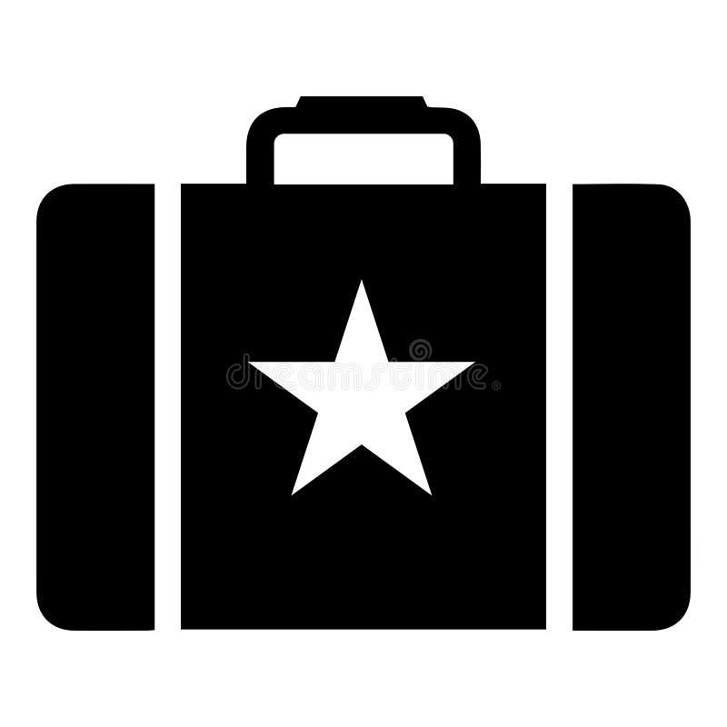 Prosta, monochromatyczna walizka, teczka z gwiazdową ikoną/ royalty ilustracja