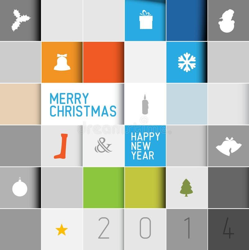 Prosta nowożytna minimalistic wektorowa kartka bożonarodzeniowa ilustracja wektor