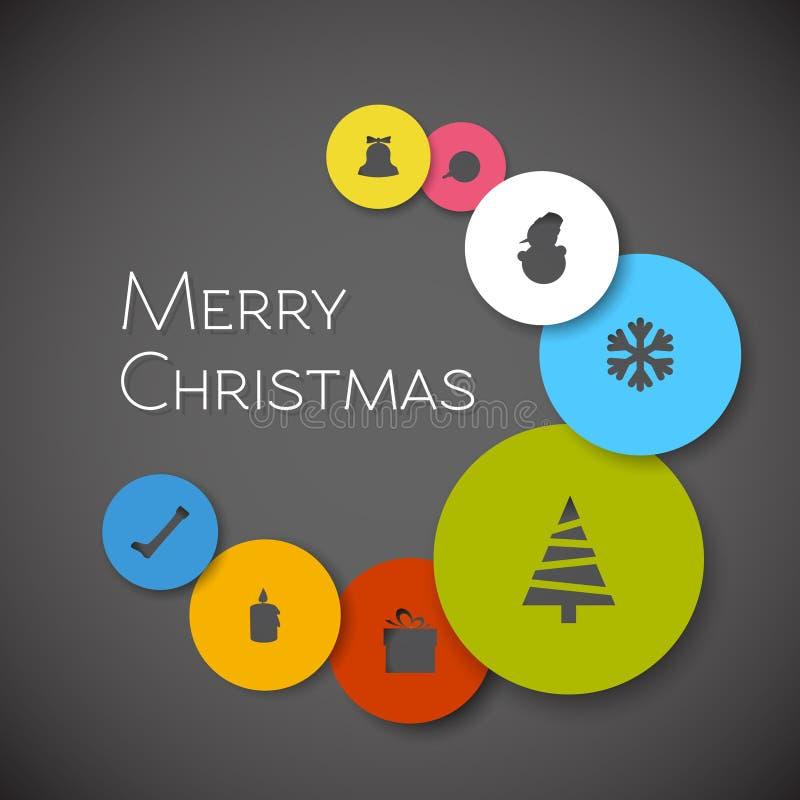 Prosta nowożytna minimalistic wektorowa kartka bożonarodzeniowa royalty ilustracja