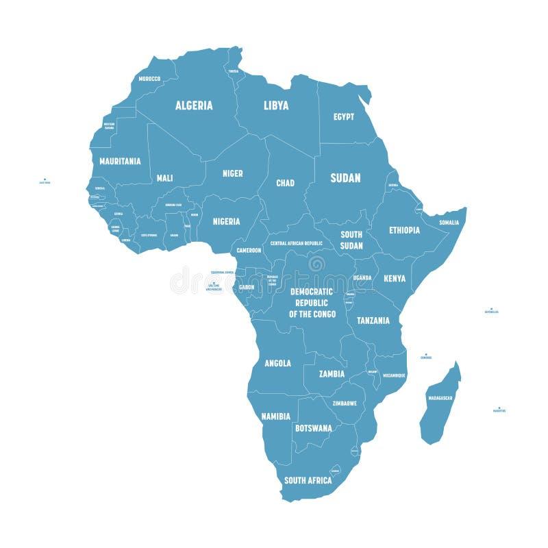 Prosta płaska błękitna mapa Afryka kontynent z granicami kraju i kraju imienia etykietkami na białym tle wektor ilustracja wektor