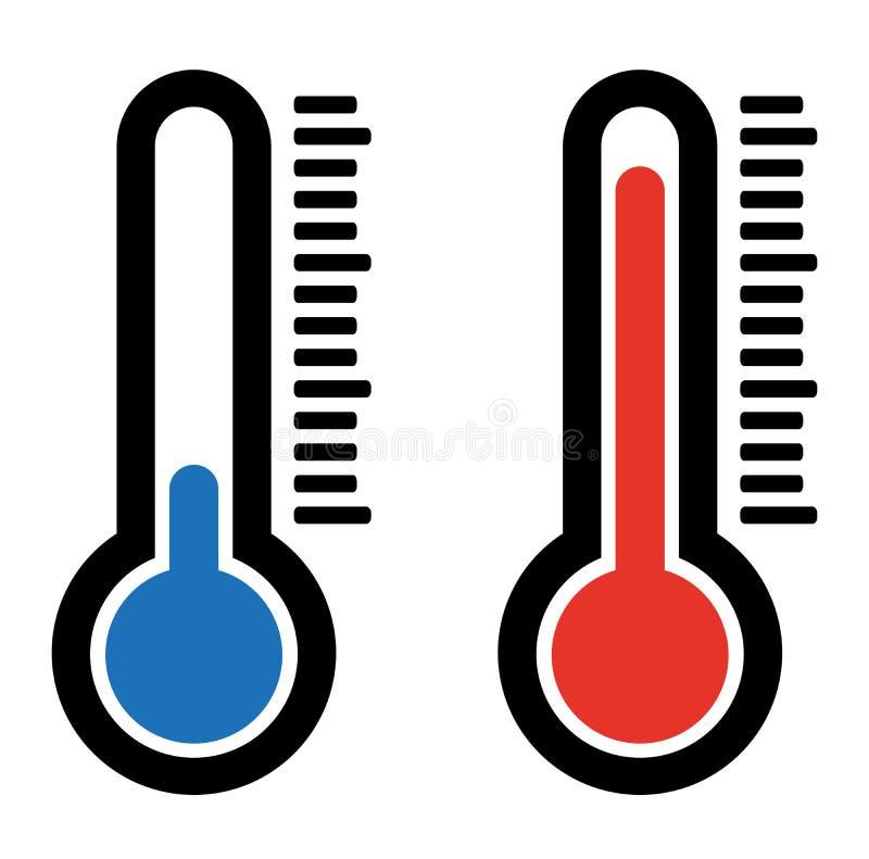 Prosta płaska gorąca i zimna temperaturowa lotniczego termometru ikona ilustracja wektor