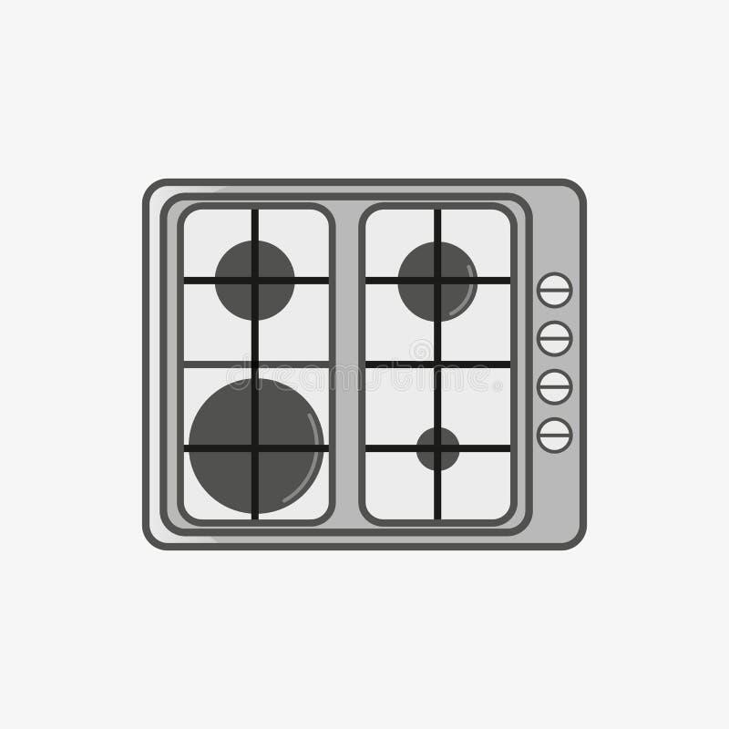 Prosta płaska ikona dla kucharz powierzchni z fourheating elementami różni rozmiary ilustracji