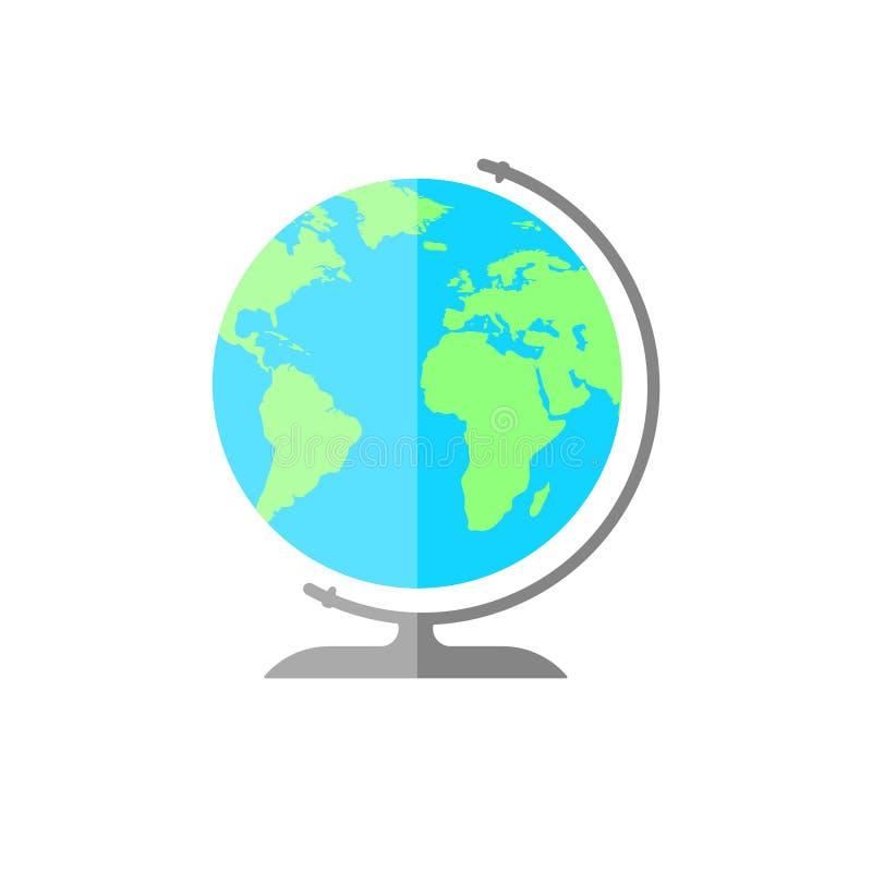 Prosta płaska kuli ziemskiej ikona Świat szyldowa ilustracja ilustracja wektor