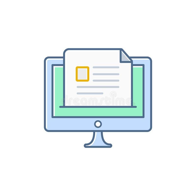 Prosta płaska minimalistyczna desktop dokumentu ikona royalty ilustracja