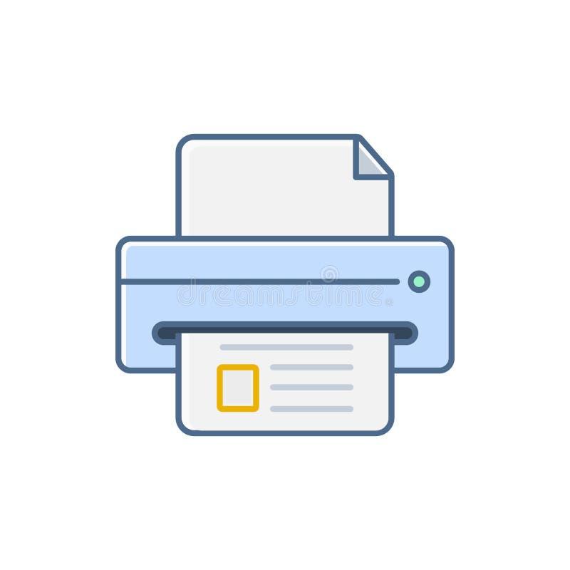 Prosta Płaska minimalistyczna drukarka przyrządu ikona ilustracja wektor