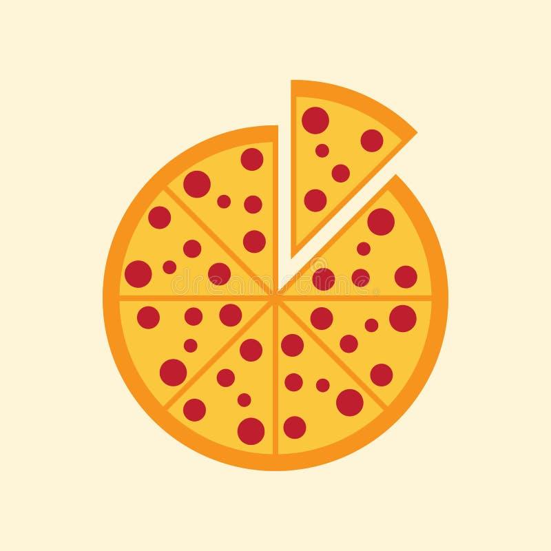 Prosta płaska pizzy ikona ilustracji