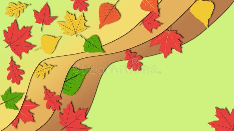 Prosta płaska projekt ilustracja w subtelnych i spokojnych kolorów brzmieniach kolorowi jesień liście z kopii przestrzenią fotografia royalty free