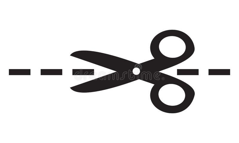Prosta płaskiego czerni nożyc wektorowa ikona, ciie tutaj kreskowego symbol royalty ilustracja