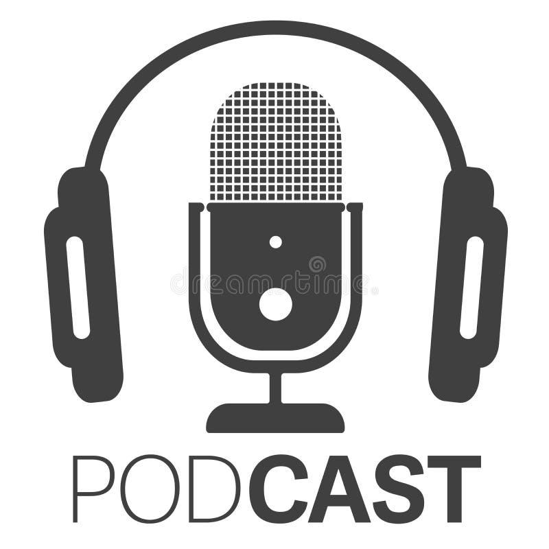 Prosta podcast ikona, logo z hełmofonami i mikrofonem lub ilustracji