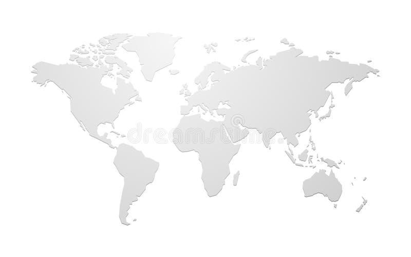 Prosta pusta wektorowa światowa mapa royalty ilustracja