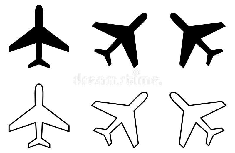 Prosta samolotowa ikona Wypełniający, uderzenie i wirująca wersja royalty ilustracja