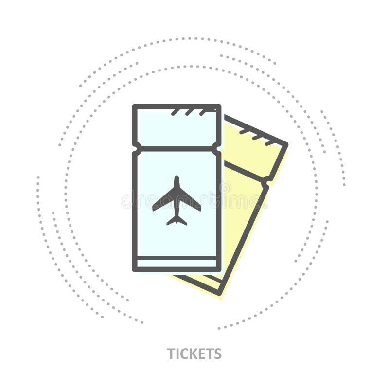 Prosta samolotowych biletów ikona - dwa pokrywają się bileta royalty ilustracja