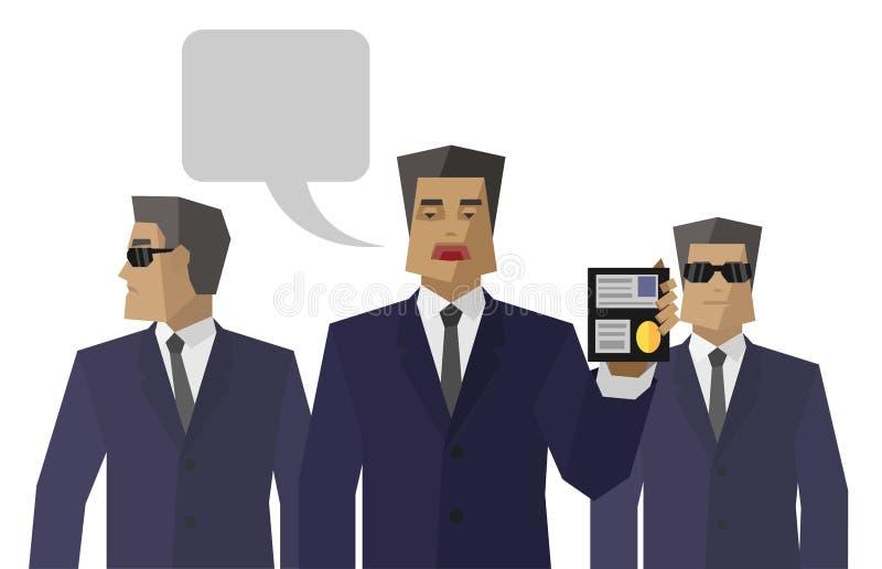 Prosta specjalna obsługa agentów przedstawień tożsamość ilustracja wektor