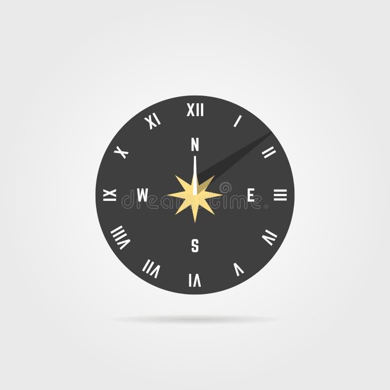 Prosta sundial ikona z cieniem ilustracji