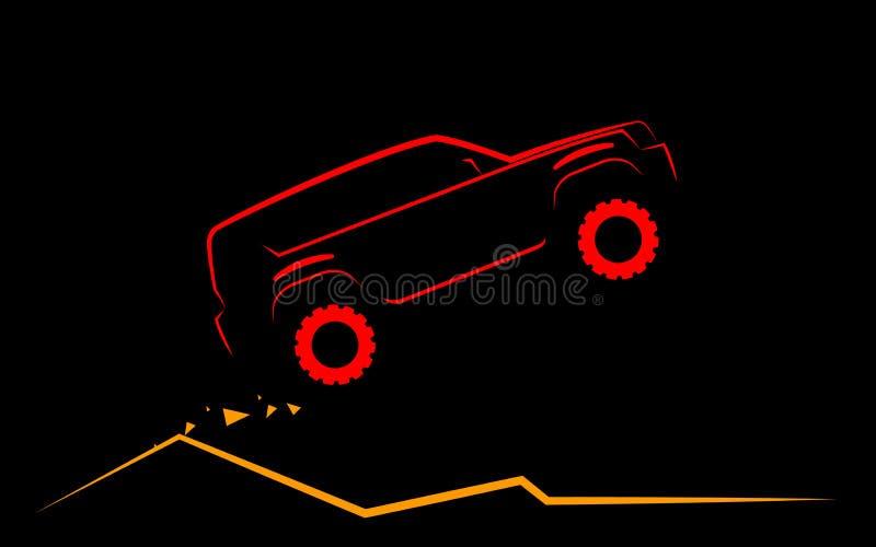 Prosta sylwetka SUV lata up na górze royalty ilustracja