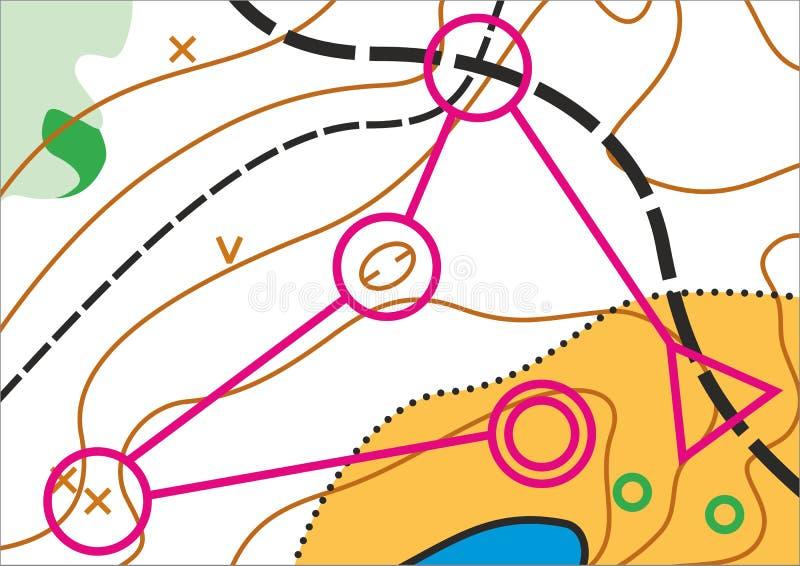 Prosta topograficzna wektorowa mapa ilustracja wektor