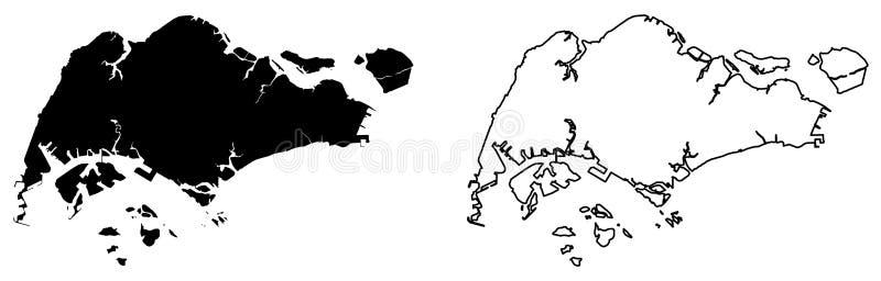 Prosta tylko ostra kąt mapa - republika Singapur wektoru d royalty ilustracja