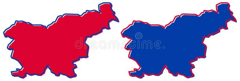 Prosta tylko ostra kąt mapa - republika Slovenia wektoru rysunek Mercator projekcja Wypełniająca i kontur wersja royalty ilustracja