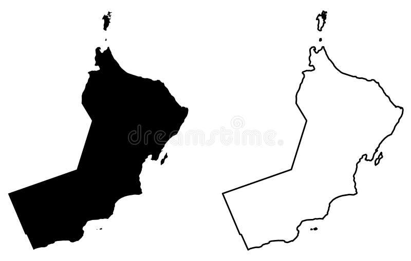 Prosta tylko ostra kąt mapa sułtanat Oman wektorowy remis royalty ilustracja