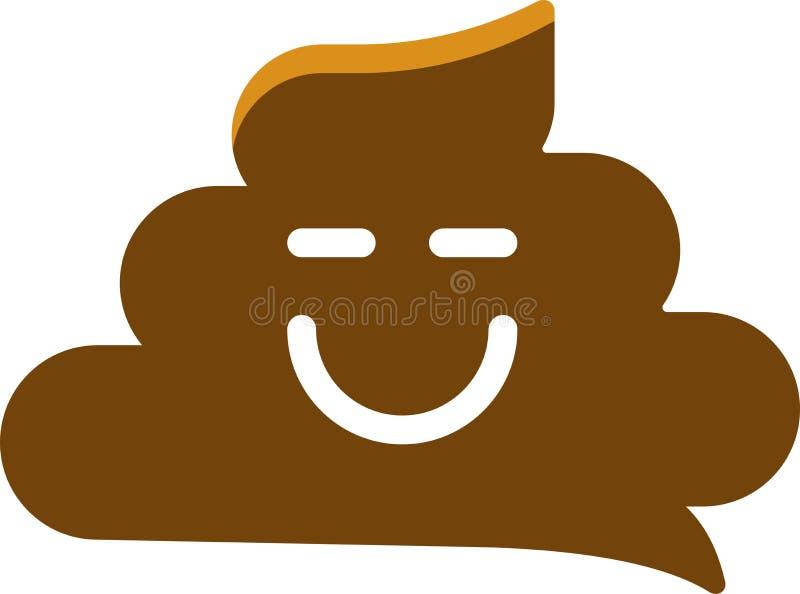 Prosta uśmiechnięta poo ikona w płaskim i geometrycznym stylu royalty ilustracja