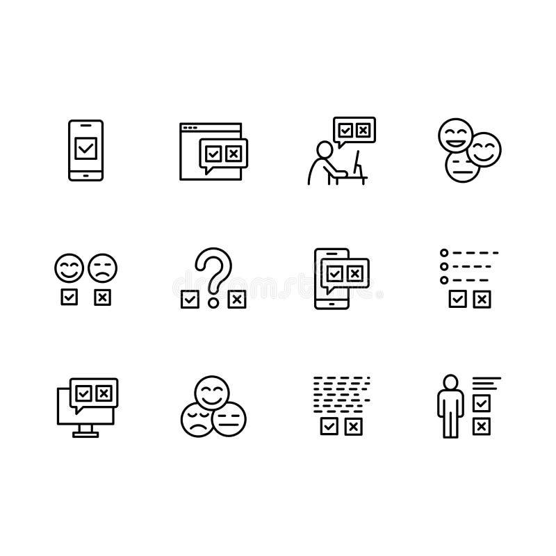 Prosta ustalona ankieta odnosić sie na internecie, ogólnospołecznych sieciach i mobilnych zastosowanie wektoru linii ikonach, Zaw ilustracja wektor