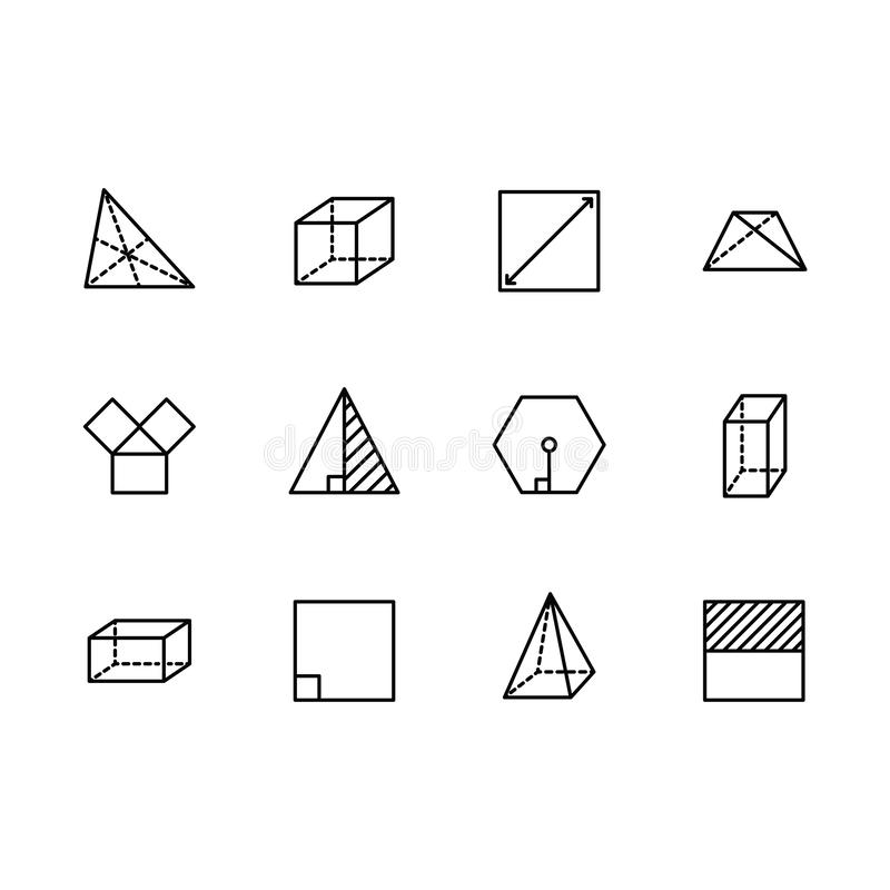 Prosta ustalona geometryczna postać wektoru linii ikona Zawiera taki kwadrat, sześcian, prostokąt, sześciokąt, trójbok, trapez ilustracja wektor