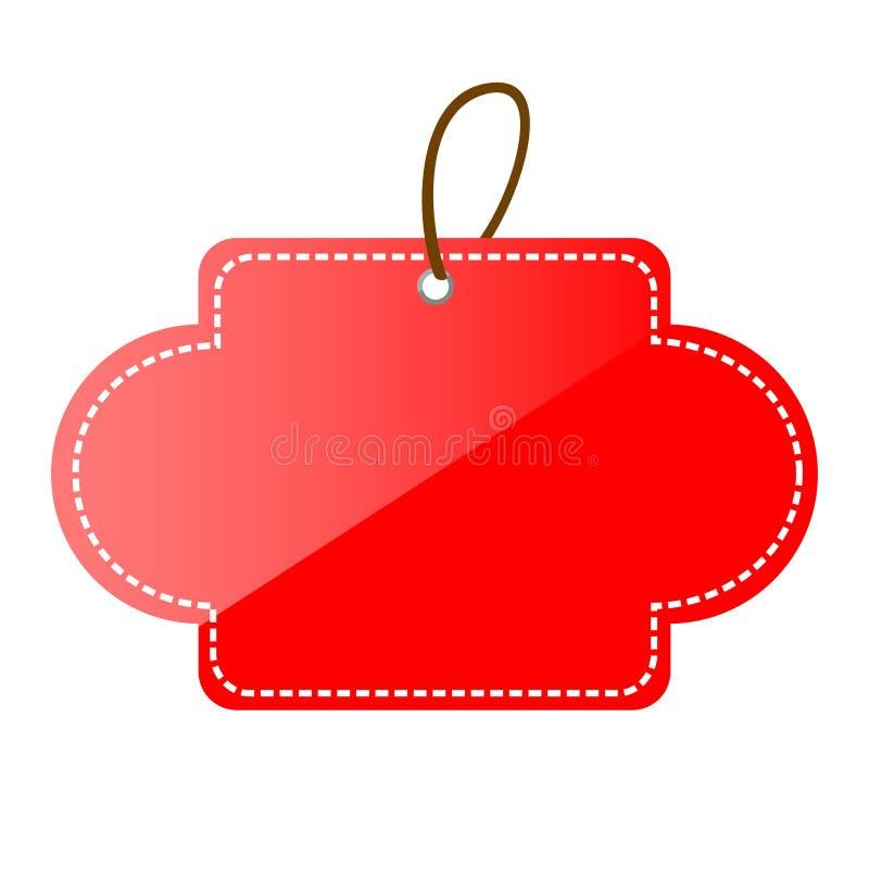 Prosta Wektorowa Czerwona Olśniewająca puste miejsce gwiazda, Zaokrąglona narożnikowa etykietka, odizolowywająca na bielu ilustracja wektor