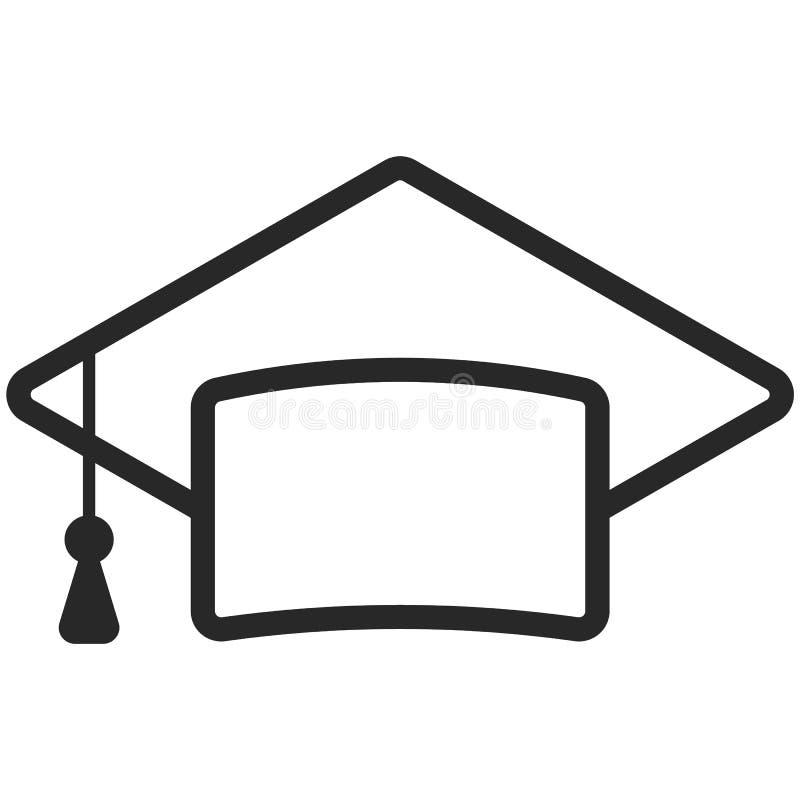 Prosta Wektorowa ikona klasyczna magisterska nakrętka w kreskowej sztuki stylu Piksel Perfect Podstawowe wykształcenie element royalty ilustracja