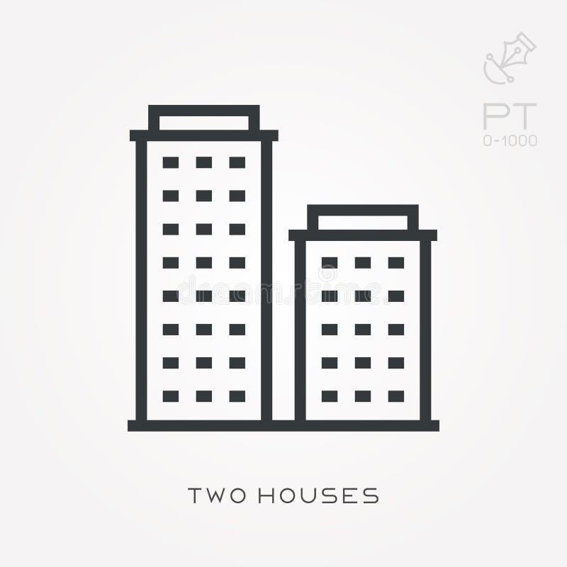 Prosta wektorowa ilustracja z zdolnością zmieniać Kreskowi ikony dwa domy ilustracji