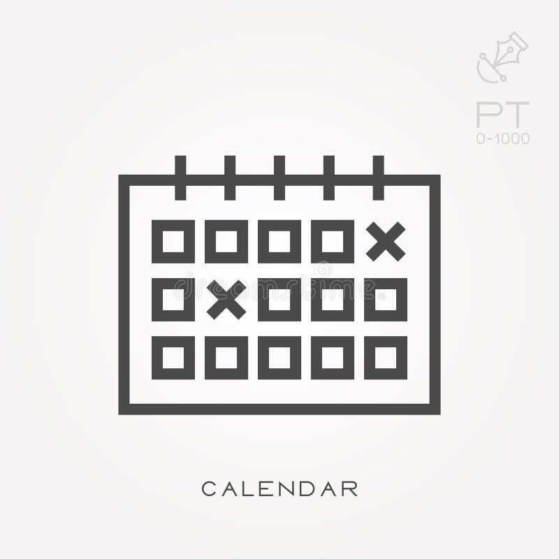 Prosta wektorowa ilustracja z zdolnością zmieniać Kreskowy ikona kalendarz ilustracja wektor
