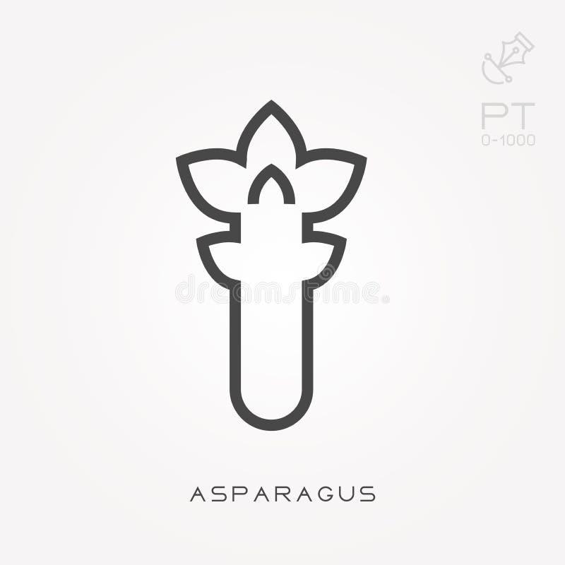 Prosta wektorowa ilustracja z zdolno?ci? zmienia? Kreskowy ikona asparagus royalty ilustracja