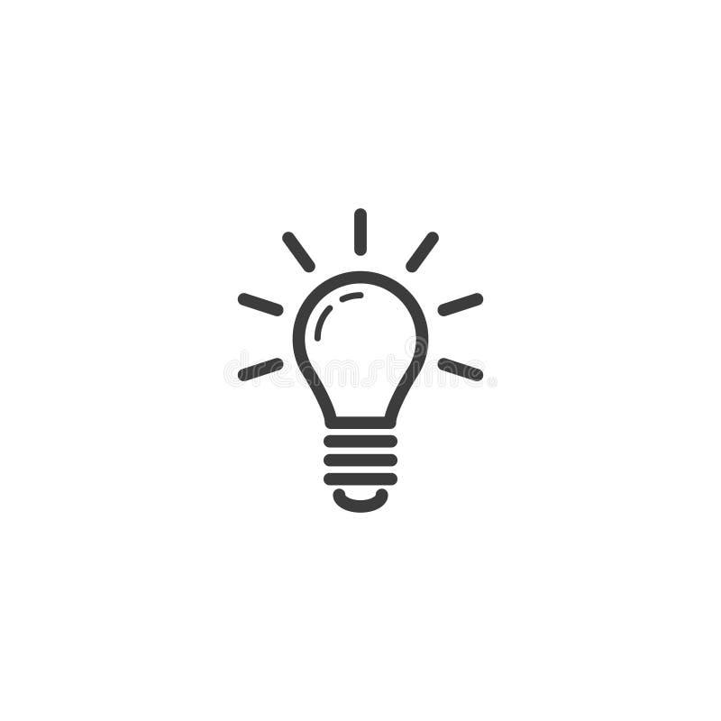 Prosta wektorowa kreskowej sztuki konturu ikona rozjarzona żarówka ilustracja wektor