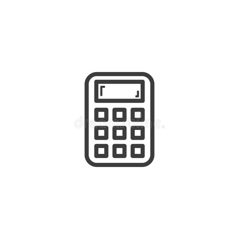 Prosta wektorowa kreskowej sztuki konturu kalkulatora ikona ilustracji
