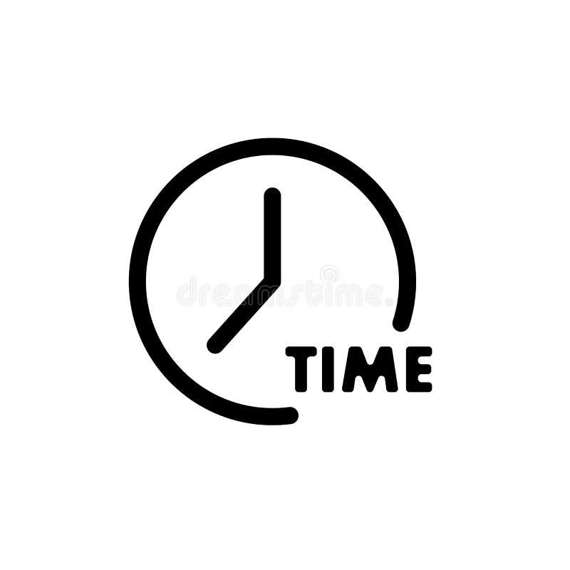 Prosta zegarowa ikona, czas z podpisem prosty wektor royalty ilustracja