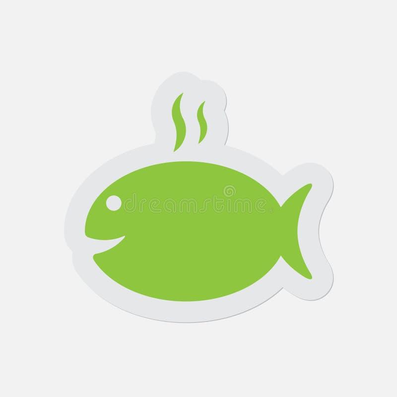 Prosta zielona ikona - opieczenie ryba z dymem royalty ilustracja