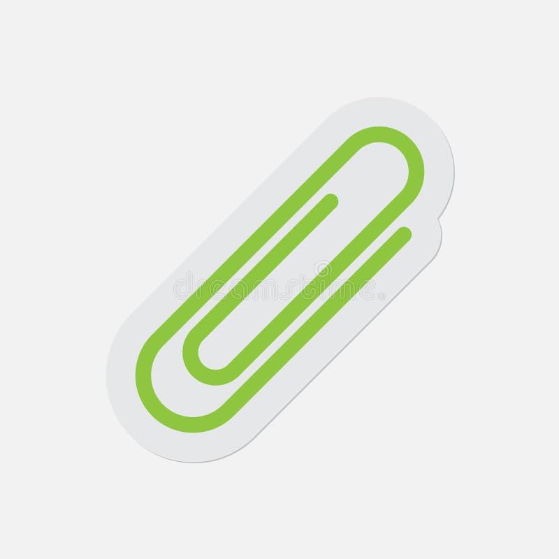 Prosta zielona ikona - papierowa klamerka ilustracji