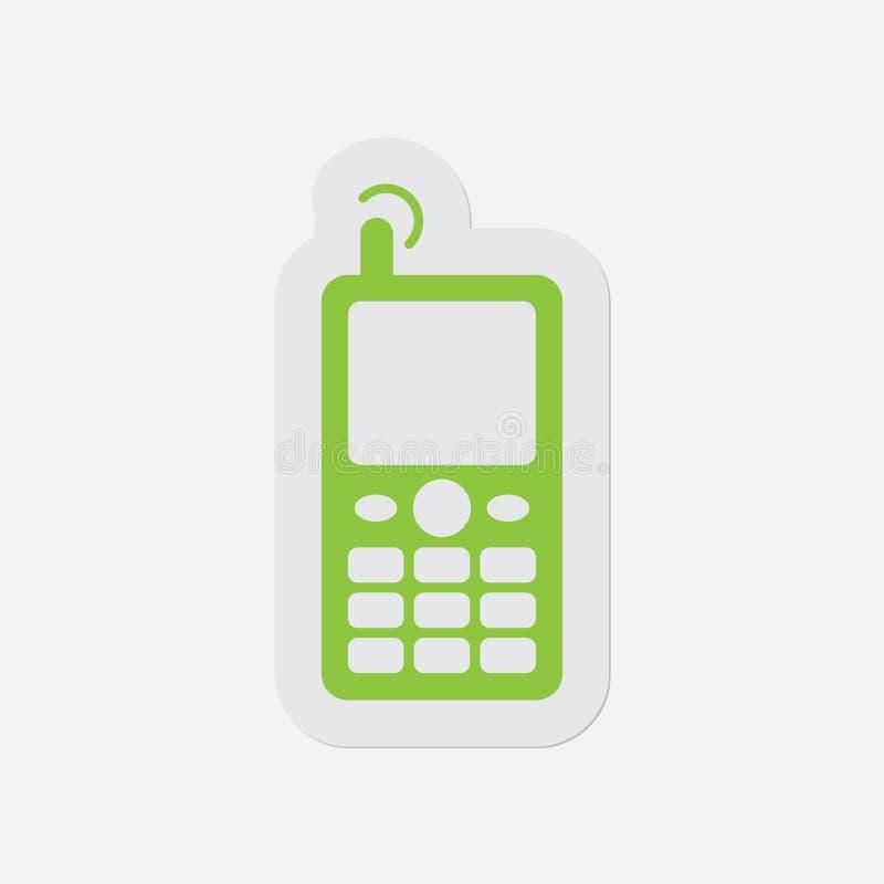 Prosta zielona ikona - stary telefon komórkowy z anteną ilustracji